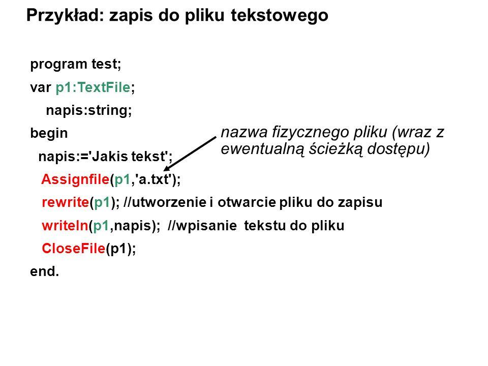 Przykład: zapis do pliku tekstowego