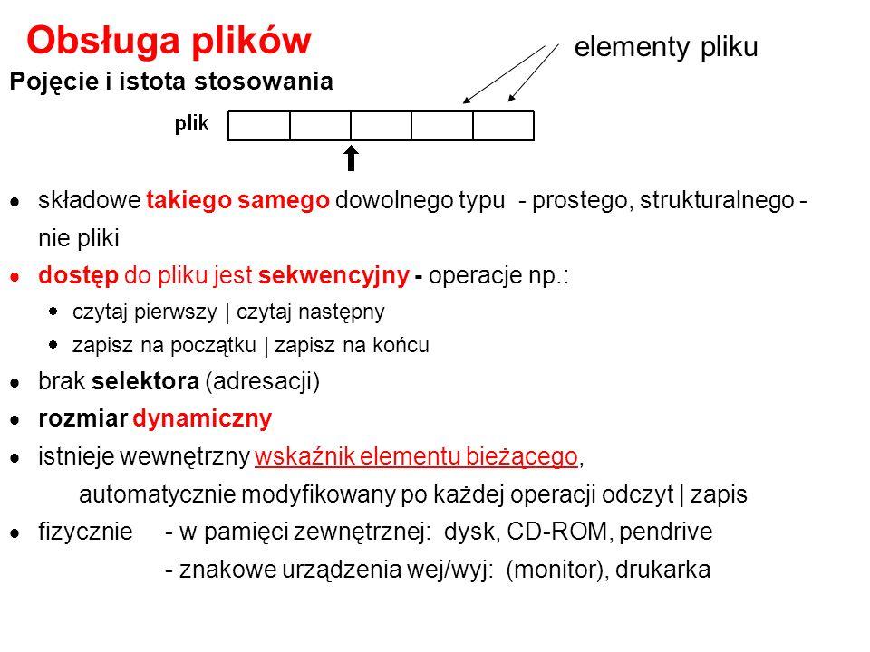 Obsługa plików elementy pliku Pojęcie i istota stosowania