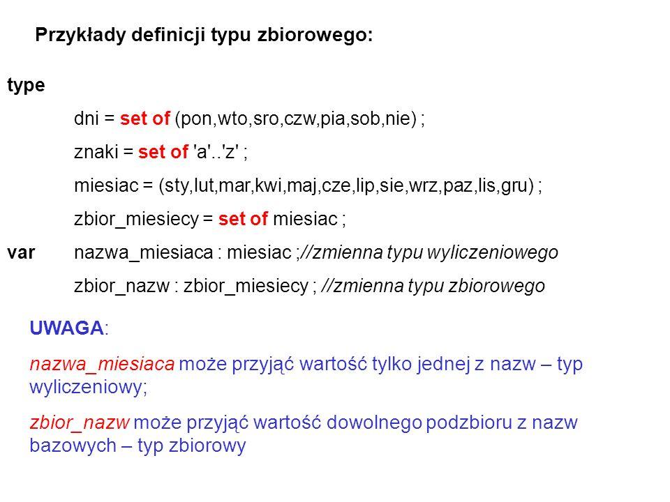 Przykłady definicji typu zbiorowego: