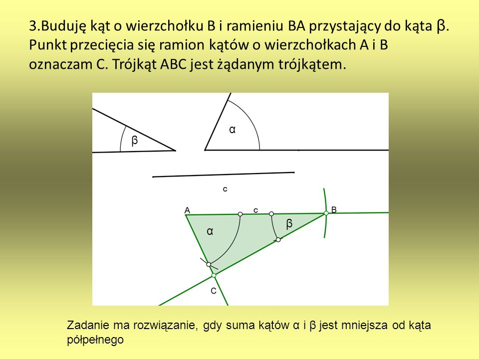 3. Buduję kąt o wierzchołku B i ramieniu BA przystający do kąta β