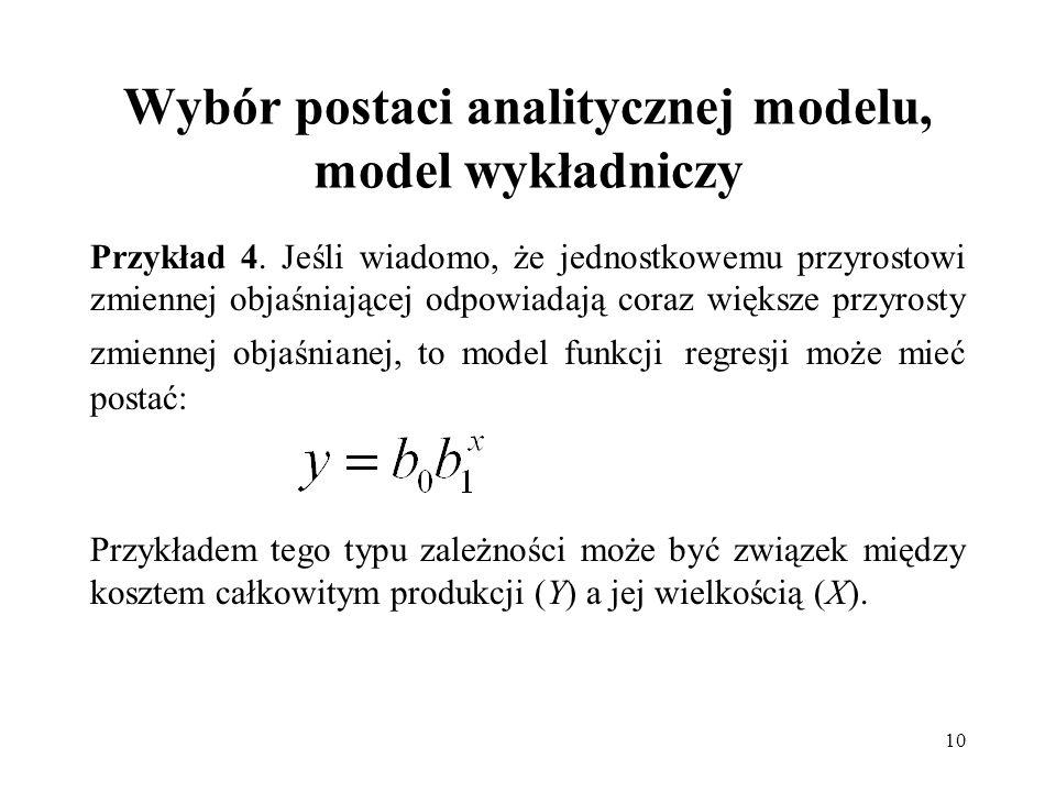 Wybór postaci analitycznej modelu, model wykładniczy