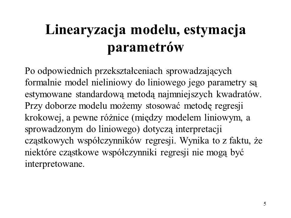 Linearyzacja modelu, estymacja parametrów