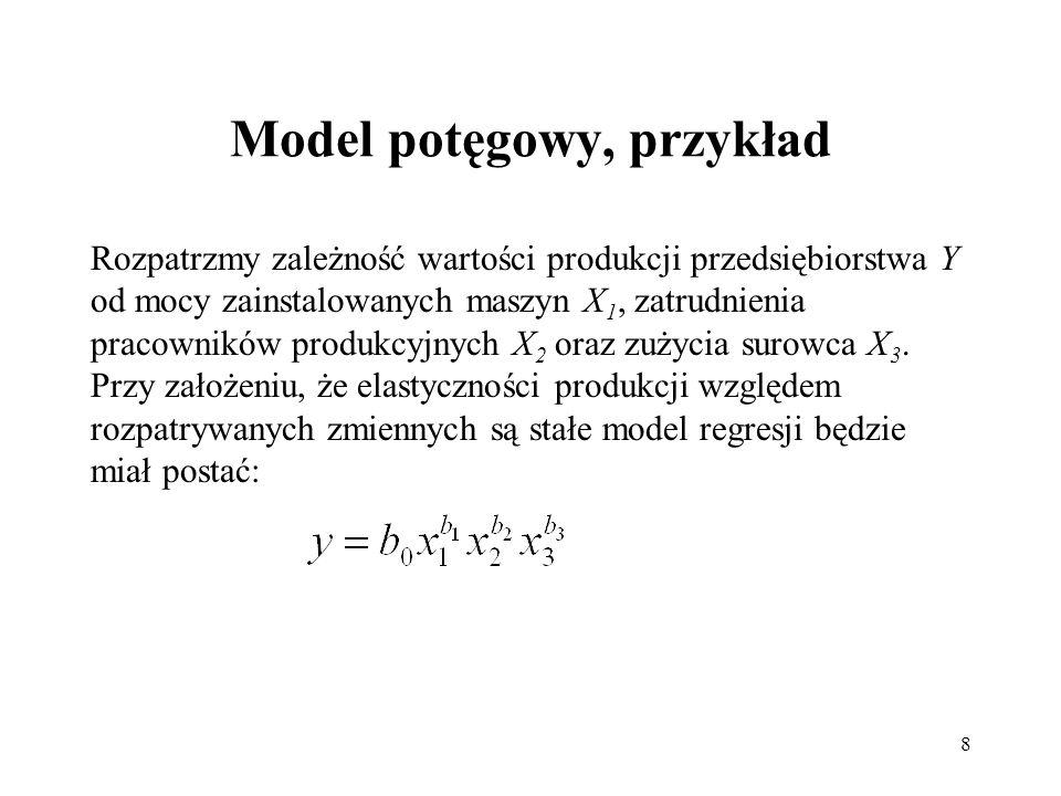 Model potęgowy, przykład