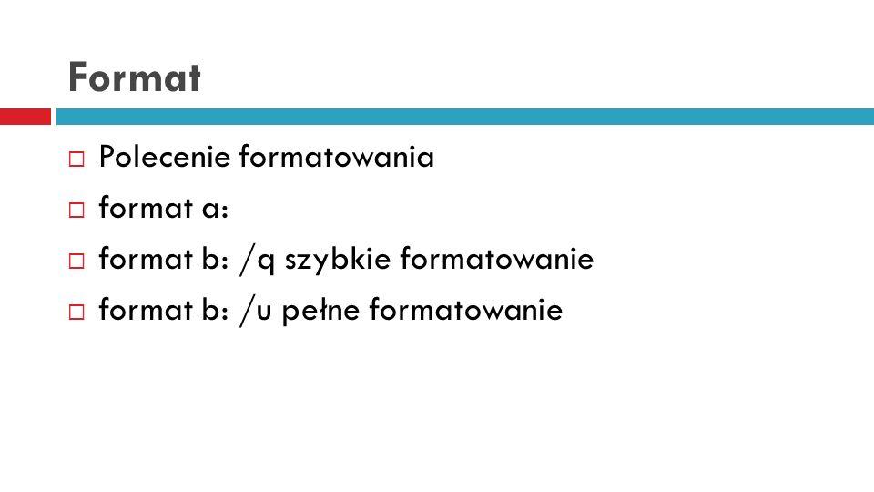 Format Polecenie formatowania format a: