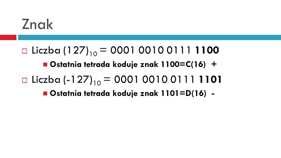 Znak Liczba (127)10 = 0001 0010 0111 1100. Ostatnia tetrada koduje znak 1100=C(16) + Liczba (-127)10 = 0001 0010 0111 1101.