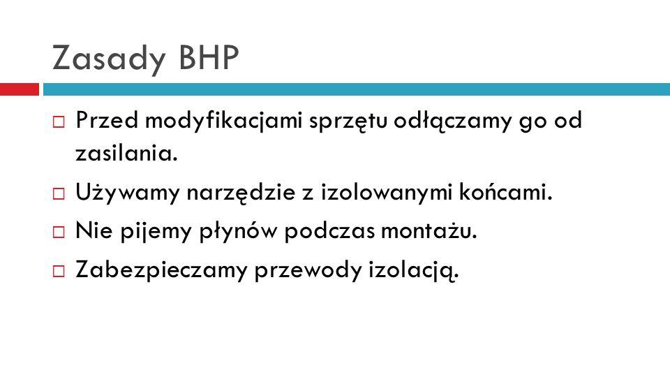 Zasady BHP Przed modyfikacjami sprzętu odłączamy go od zasilania.
