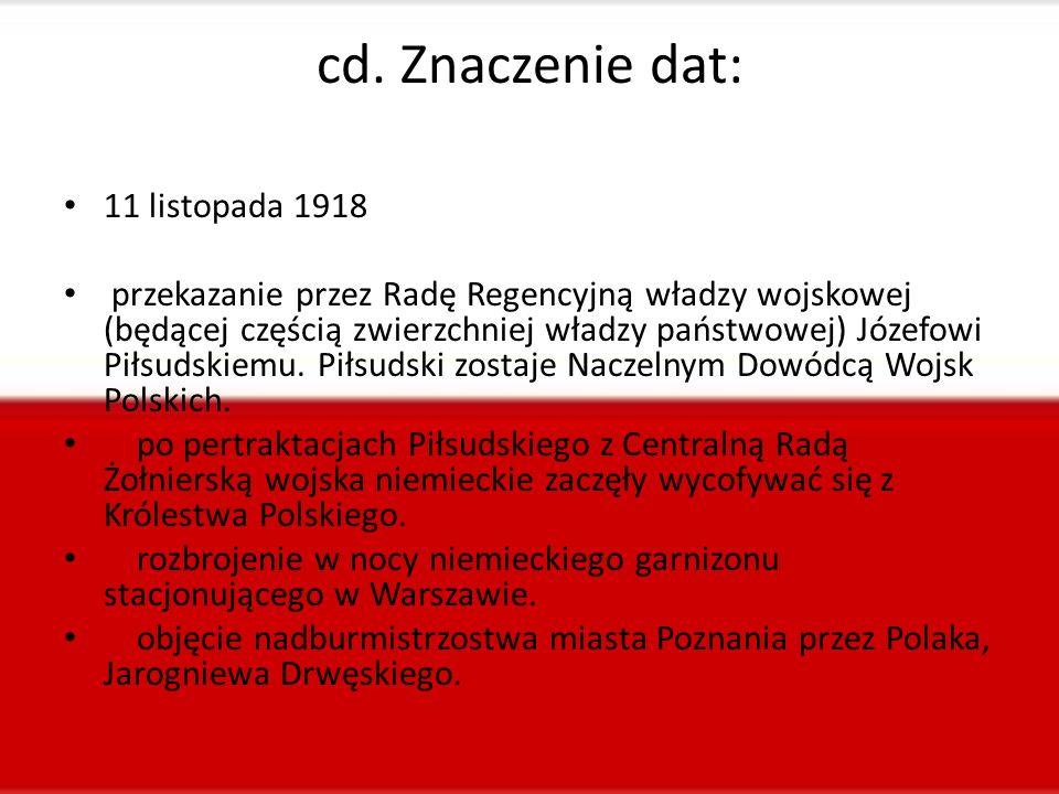 cd. Znaczenie dat: 11 listopada 1918