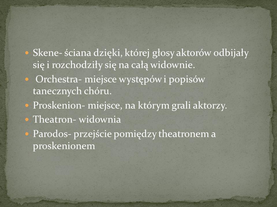 Skene- ściana dzięki, której głosy aktorów odbijały się i rozchodziły się na całą widownie.