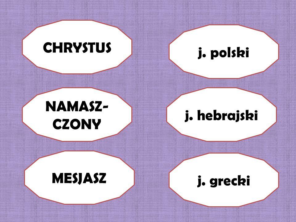 CHRYSTUS j. polski NAMASZ-CZONY j. hebrajski MESJASZ j. grecki
