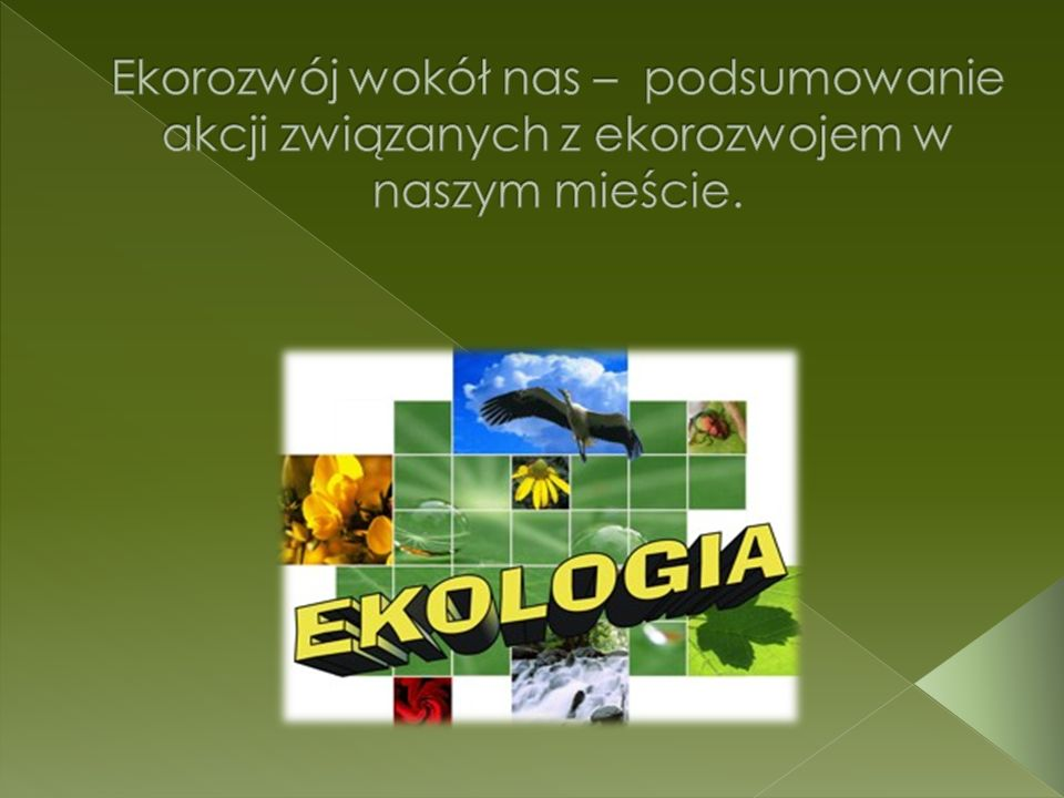 Ekorozwój wokół nas – podsumowanie akcji związanych z ekorozwojem w naszym mieście.