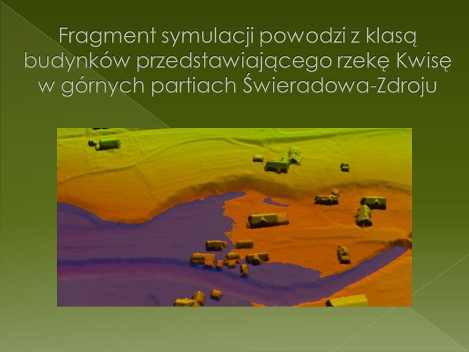 Fragment symulacji powodzi z klasą budynków przedstawiającego rzekę Kwisę w górnych partiach Świeradowa-Zdroju