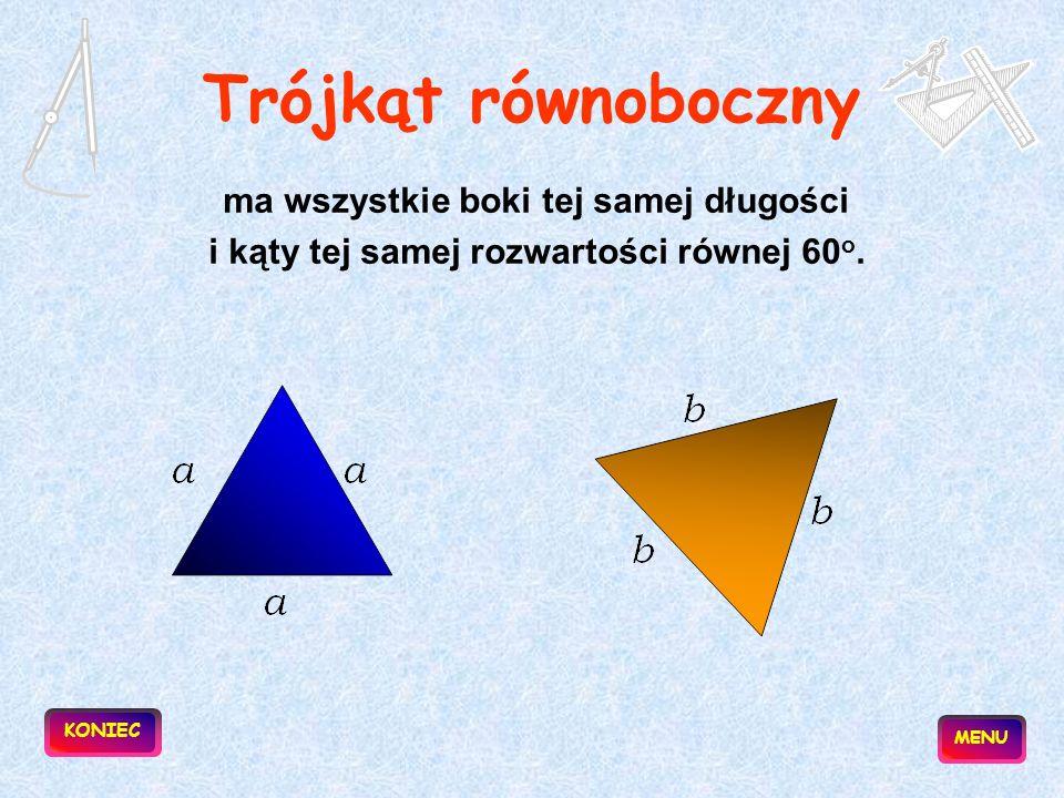 Trójkąt równoboczny ma wszystkie boki tej samej długości