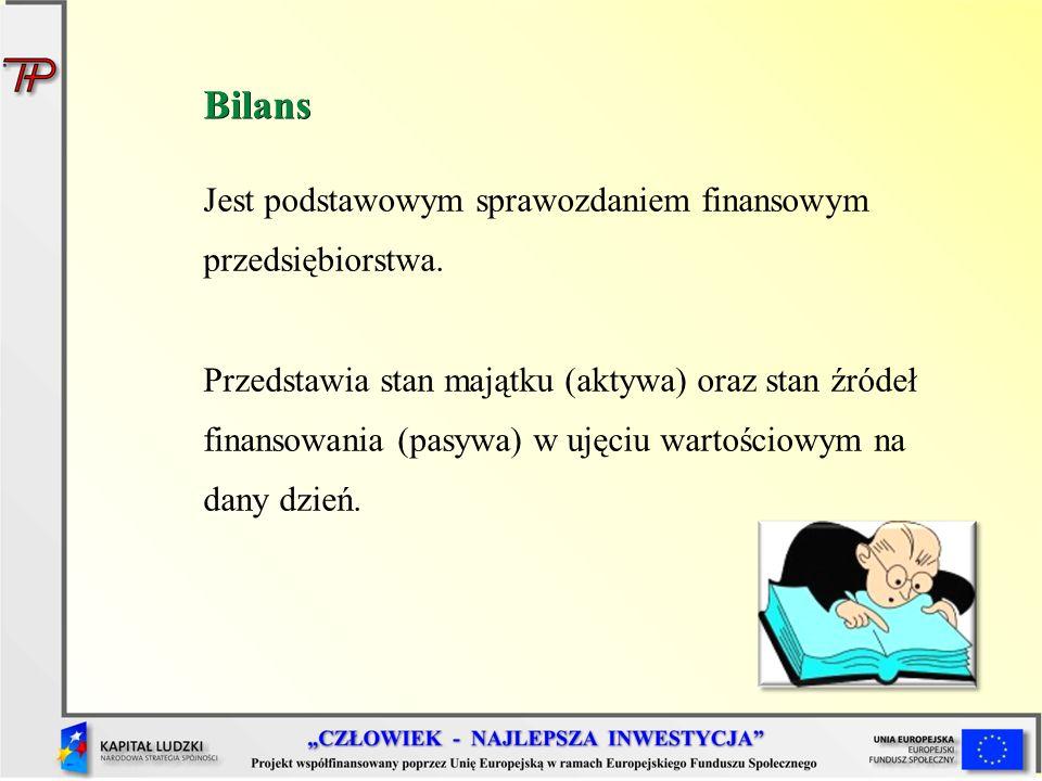Bilans Jest podstawowym sprawozdaniem finansowym przedsiębiorstwa.