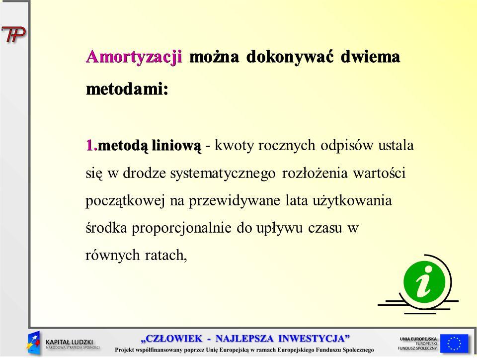 Amortyzacji można dokonywać dwiema metodami: