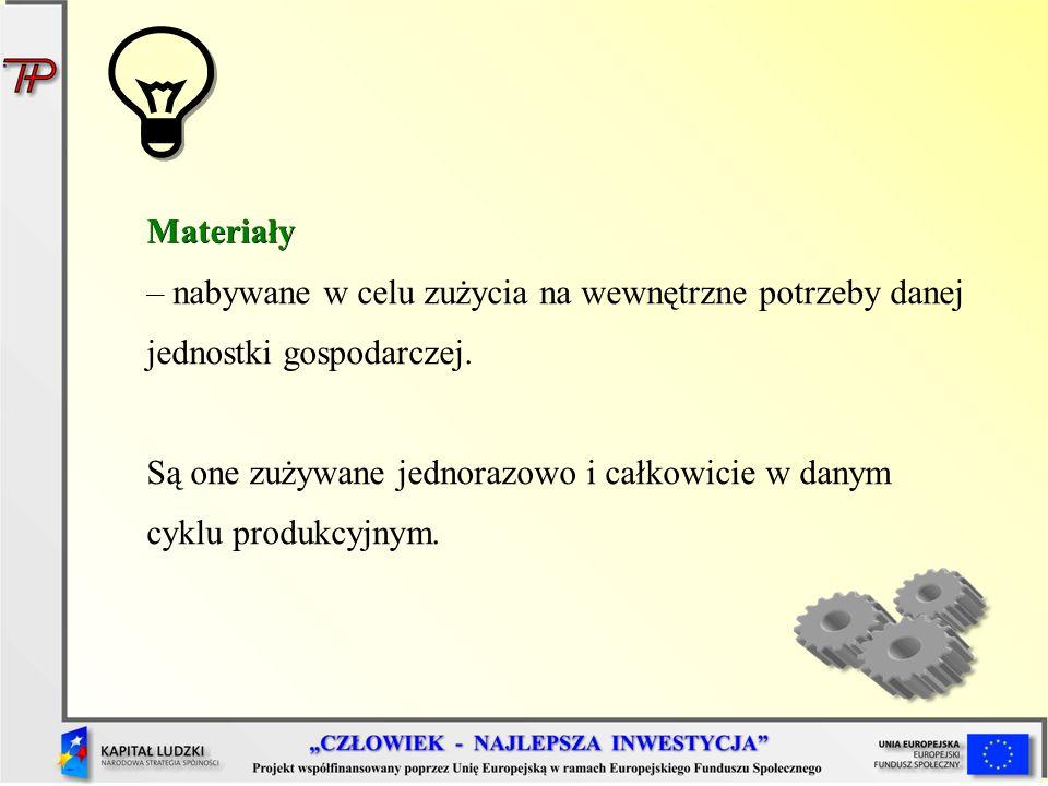 Materiały – nabywane w celu zużycia na wewnętrzne potrzeby danej jednostki gospodarczej.