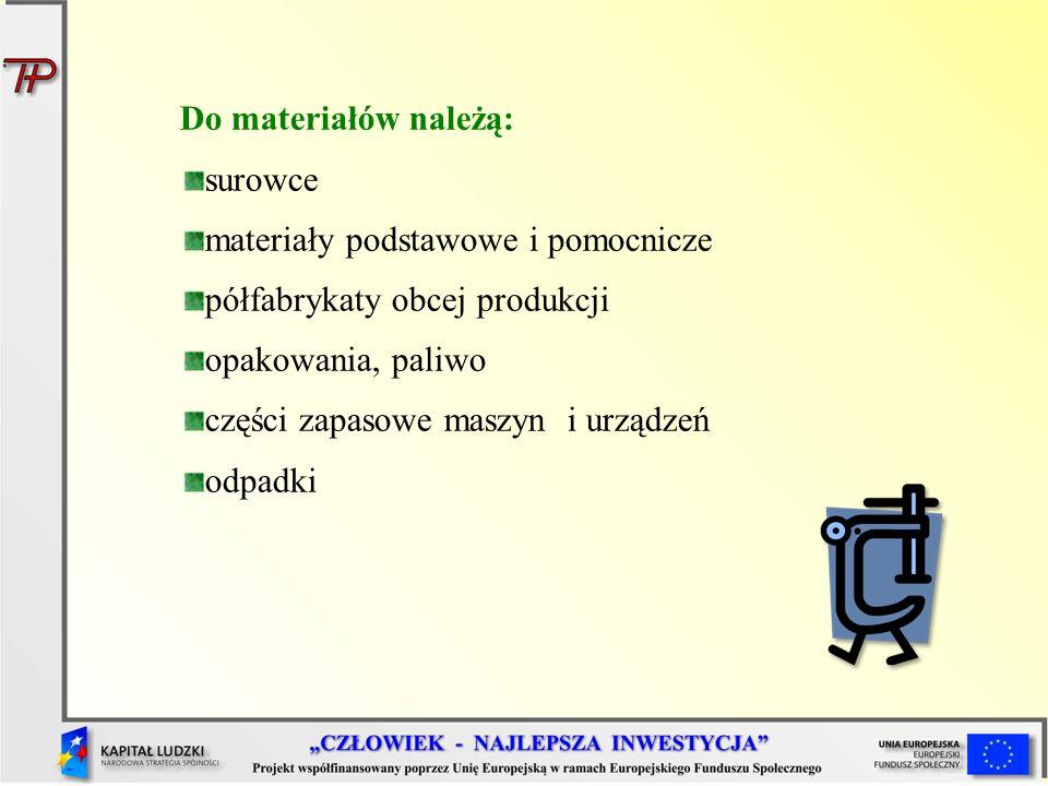 Do materiałów należą: surowce. materiały podstawowe i pomocnicze. półfabrykaty obcej produkcji. opakowania, paliwo.