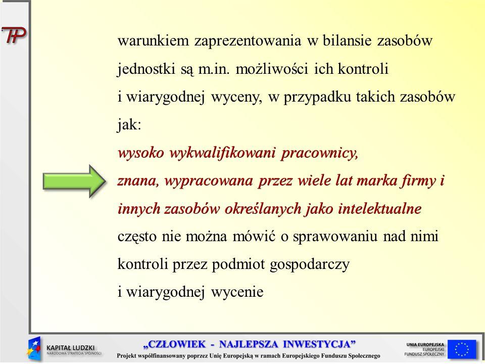 warunkiem zaprezentowania w bilansie zasobów jednostki są m. in