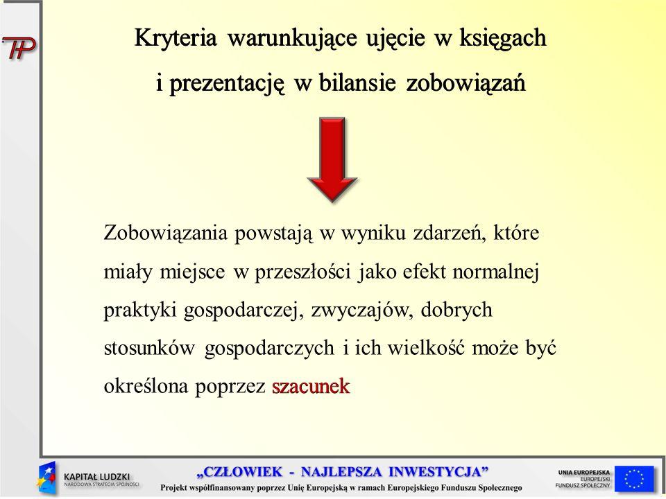 Kryteria warunkujące ujęcie w księgach i prezentację w bilansie zobowiązań