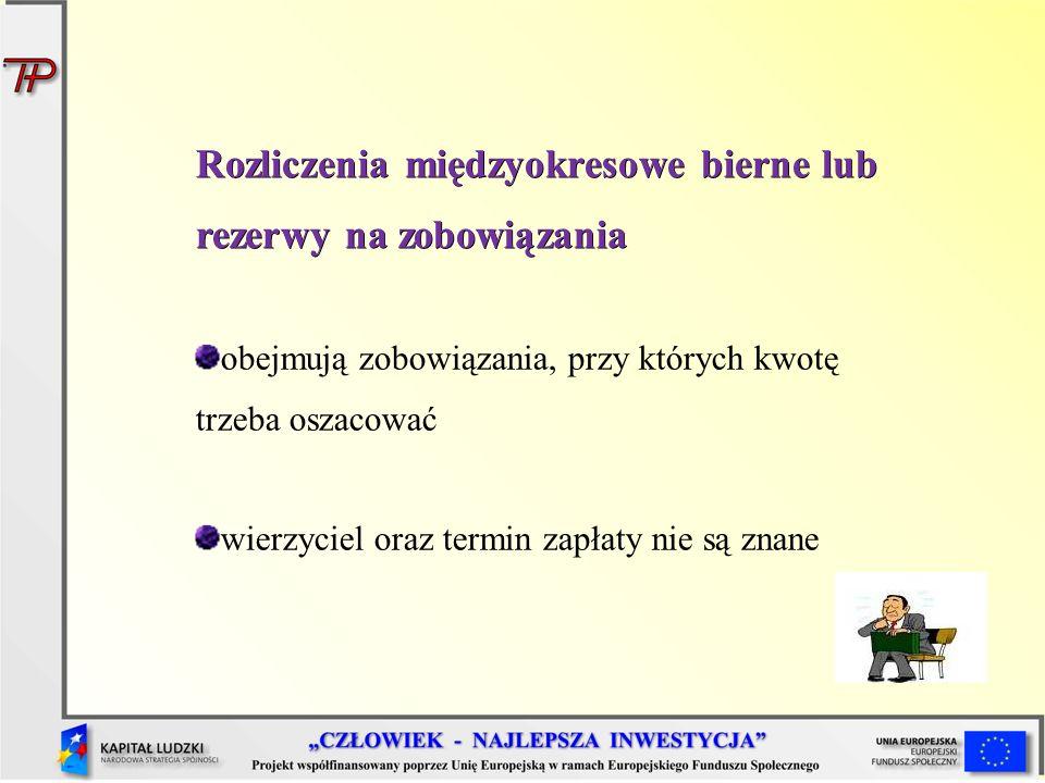 Rozliczenia międzyokresowe bierne lub rezerwy na zobowiązania