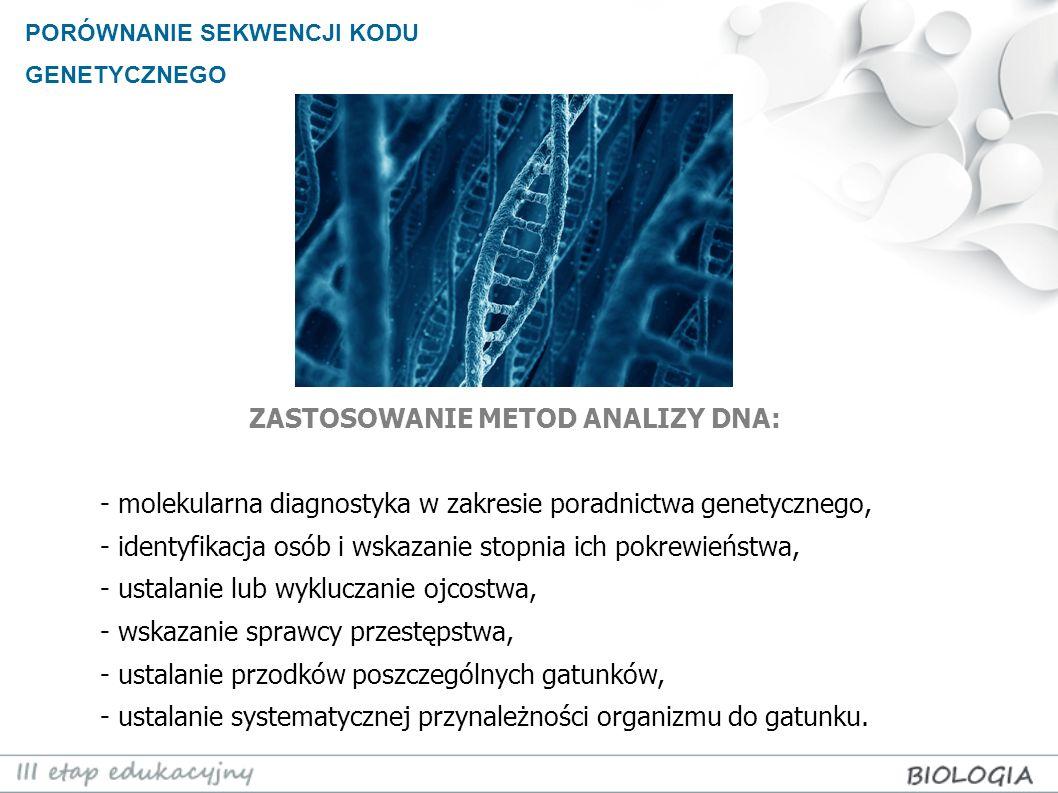 ZASTOSOWANIE METOD ANALIZY DNA: