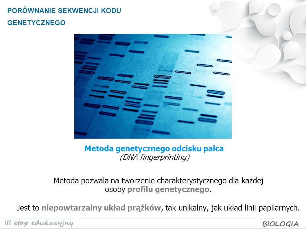 Metoda genetycznego odcisku palca (DNA fingerprinting)