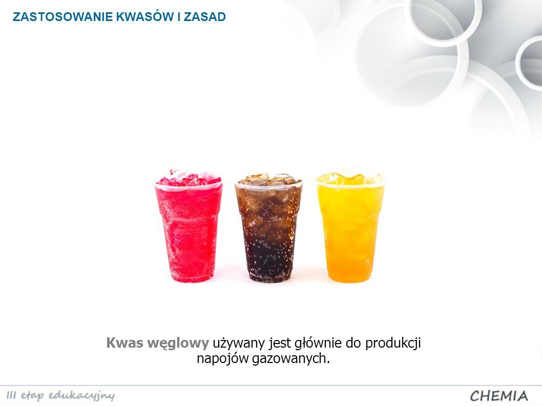 Kwas węglowy używany jest głównie do produkcji napojów gazowanych.