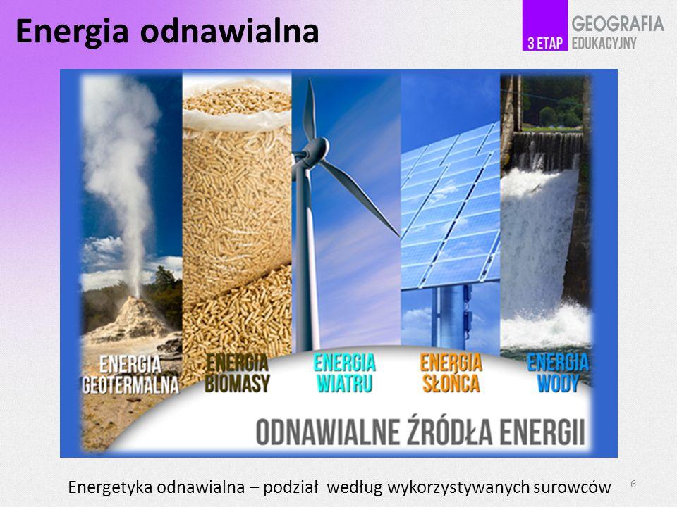 Energia odnawialna Energetyka odnawialna – podział według wykorzystywanych surowców . 6