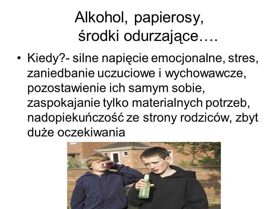 Alkohol, papierosy, środki odurzające….