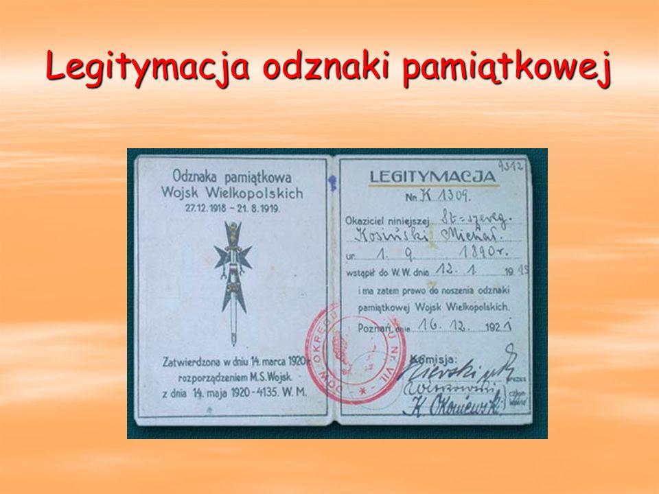 Legitymacja odznaki pamiątkowej