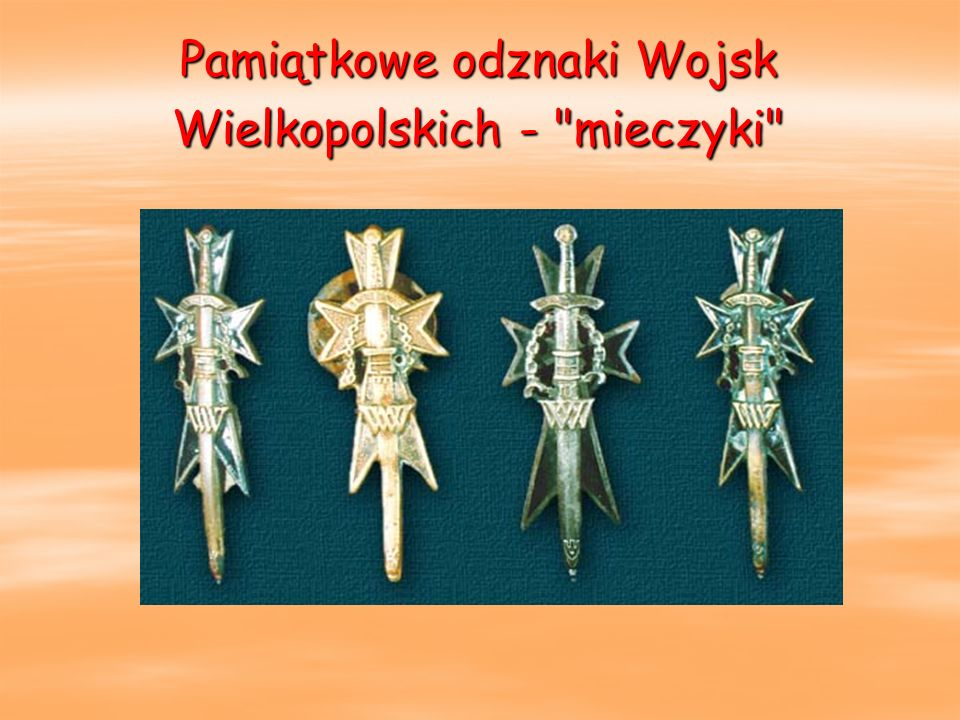 Pamiątkowe odznaki Wojsk Wielkopolskich - mieczyki