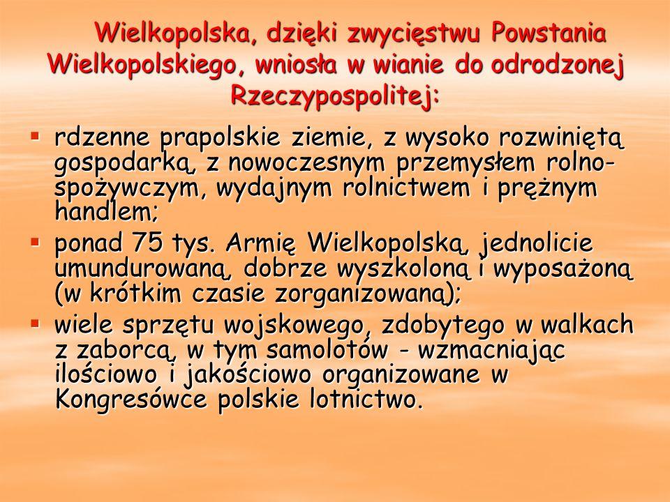 Wielkopolska, dzięki zwycięstwu Powstania Wielkopolskiego, wniosła w wianie do odrodzonej Rzeczypospolitej: