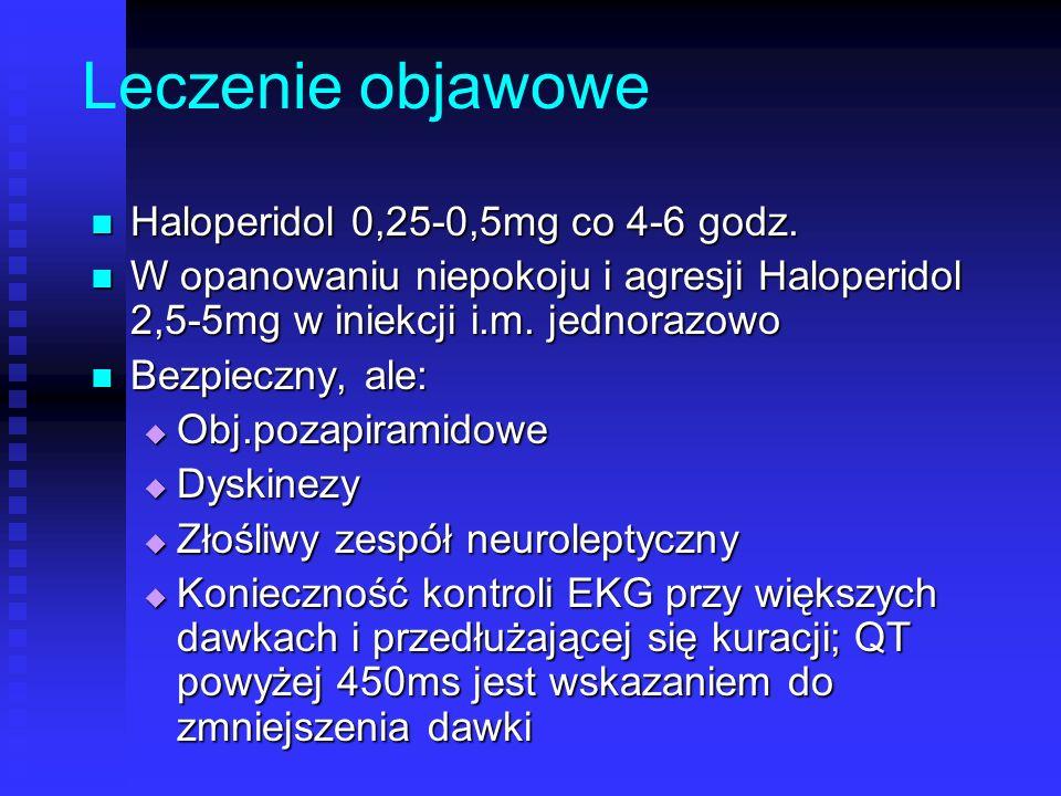 Leczenie objawowe Haloperidol 0,25-0,5mg co 4-6 godz.