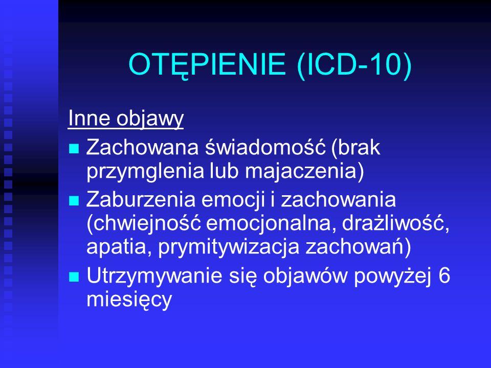 OTĘPIENIE (ICD-10) Inne objawy