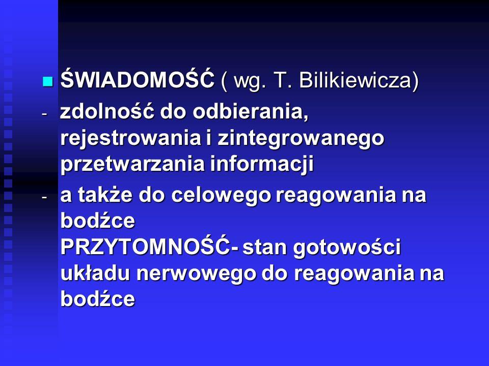 ŚWIADOMOŚĆ ( wg. T. Bilikiewicza)