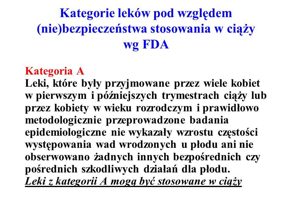 Kategorie leków pod względem (nie)bezpieczeństwa stosowania w ciąży wg FDA