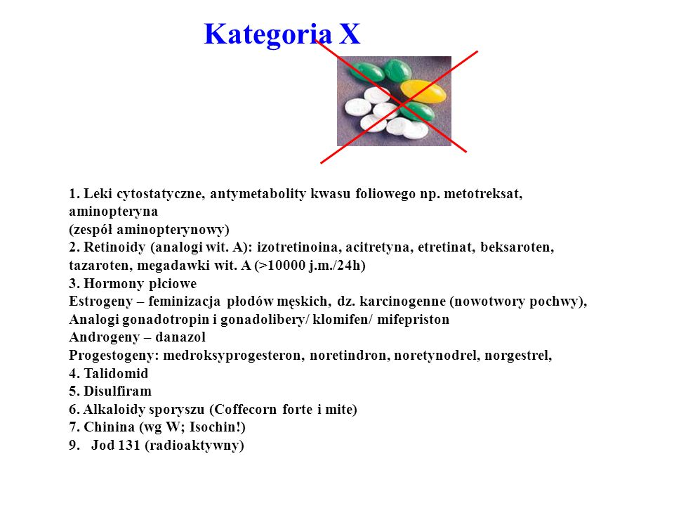 Kategoria X 1. Leki cytostatyczne, antymetabolity kwasu foliowego np. metotreksat, aminopteryna. (zespół aminopterynowy)