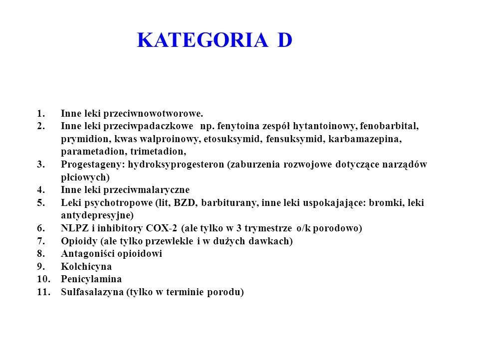 KATEGORIA D Inne leki przeciwnowotworowe.