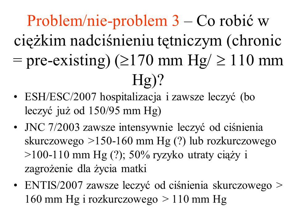 Problem/nie-problem 3 – Co robić w ciężkim nadciśnieniu tętniczym (chronic = pre-existing) (170 mm Hg/  110 mm Hg)