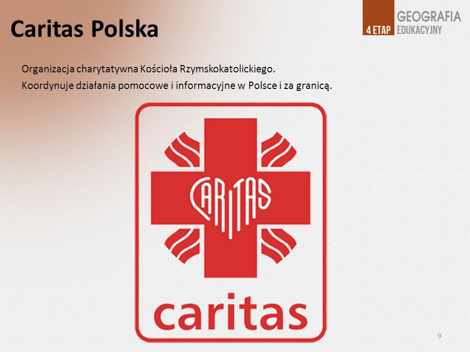 Caritas Polska Organizacja charytatywna Kościoła Rzymskokatolickiego.