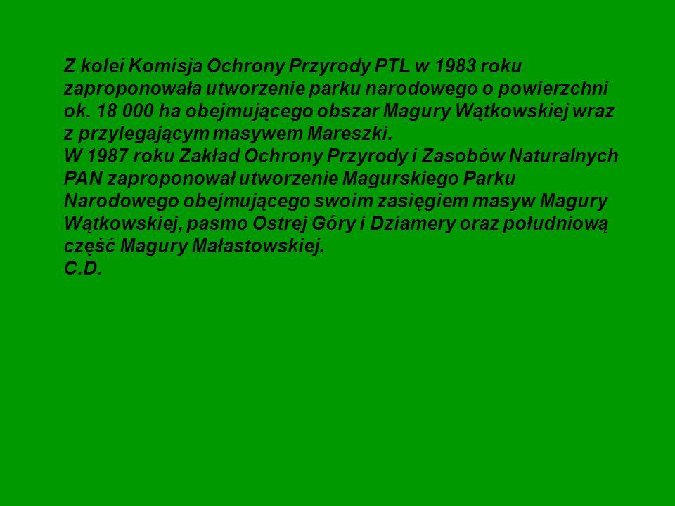Z kolei Komisja Ochrony Przyrody PTL w 1983 roku zaproponowała utworzenie parku narodowego o powierzchni ok. 18 000 ha obejmującego obszar Magury Wątkowskiej wraz z przylegającym masywem Mareszki.