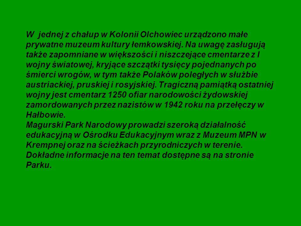 W jednej z chałup w Kolonii Olchowiec urządzono małe prywatne muzeum kultury łemkowskiej. Na uwagę zasługują także zapomniane w większości i niszczejące cmentarze z I wojny światowej, kryjące szczątki tysięcy pojednanych po śmierci wrogów, w tym także Polaków poległych w służbie austriackiej, pruskiej i rosyjskiej. Tragiczną pamiątką ostatniej wojny jest cmentarz 1250 ofiar narodowości żydowskiej zamordowanych przez nazistów w 1942 roku na przełęczy w Hałbowie.
