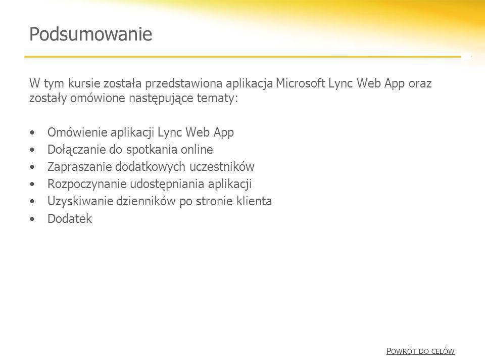 Podsumowanie W tym kursie została przedstawiona aplikacja Microsoft Lync Web App oraz zostały omówione następujące tematy: