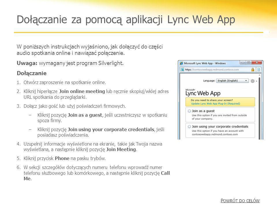 Dołączanie za pomocą aplikacji Lync Web App