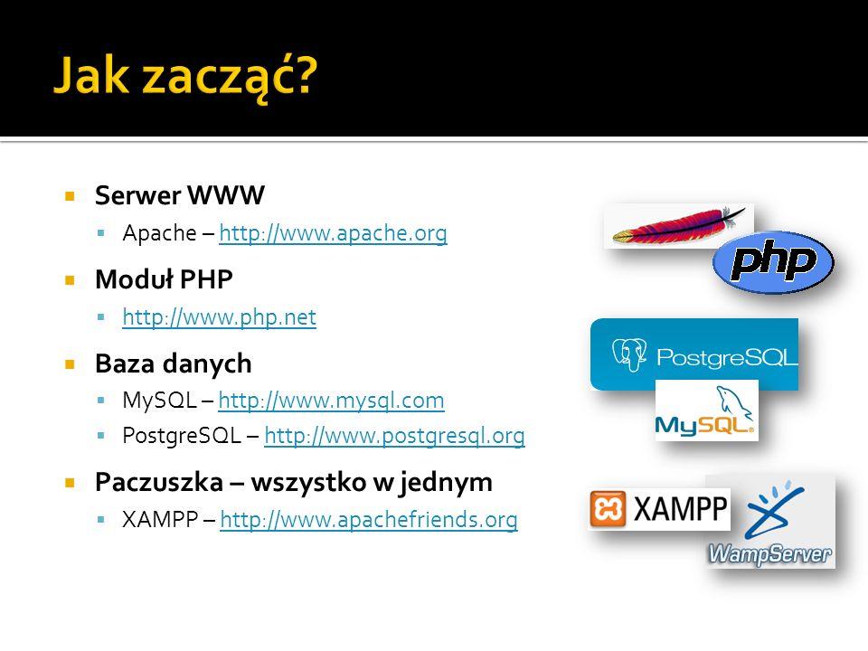 Jak zacząć Serwer WWW Moduł PHP Baza danych