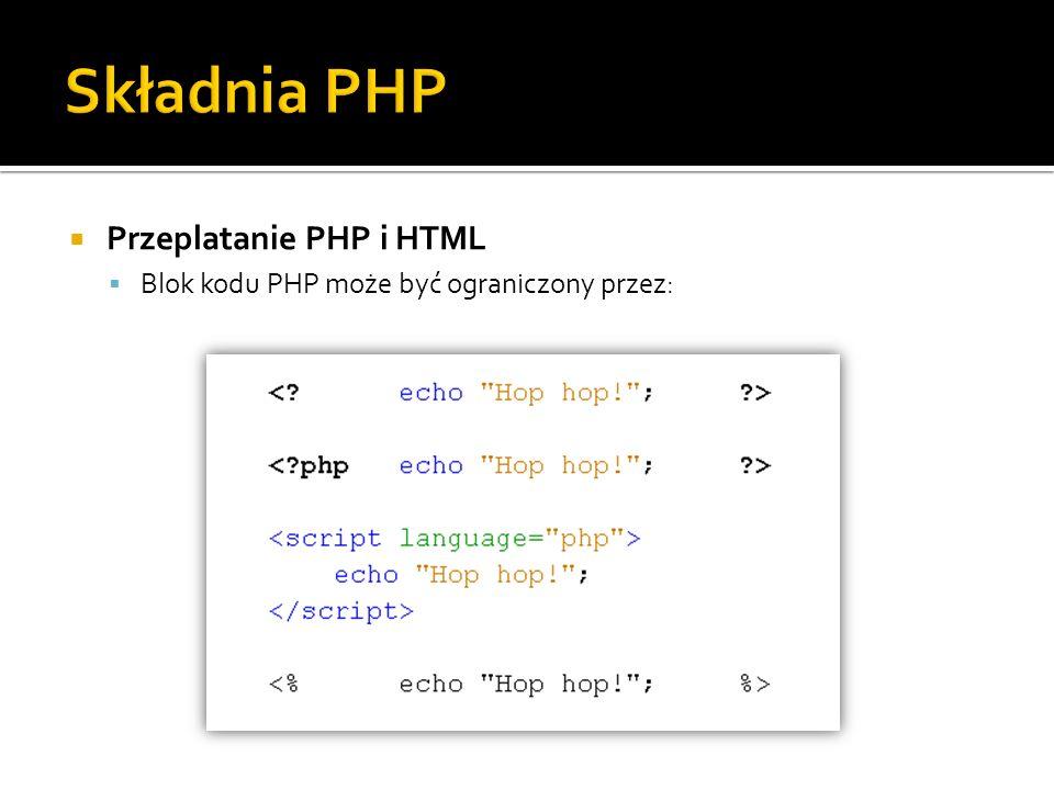 Składnia PHP Przeplatanie PHP i HTML