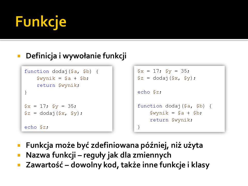 Funkcje Definicja i wywołanie funkcji
