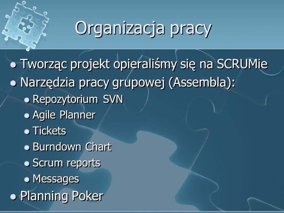 Organizacja pracy Tworząc projekt opieraliśmy się na SCRUMie