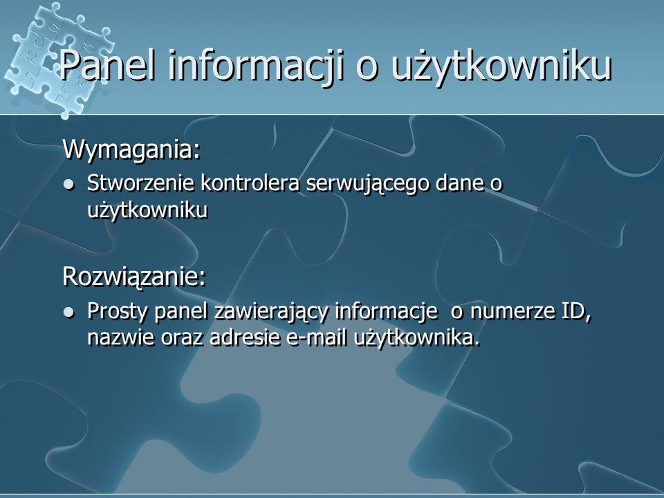 Panel informacji o użytkowniku
