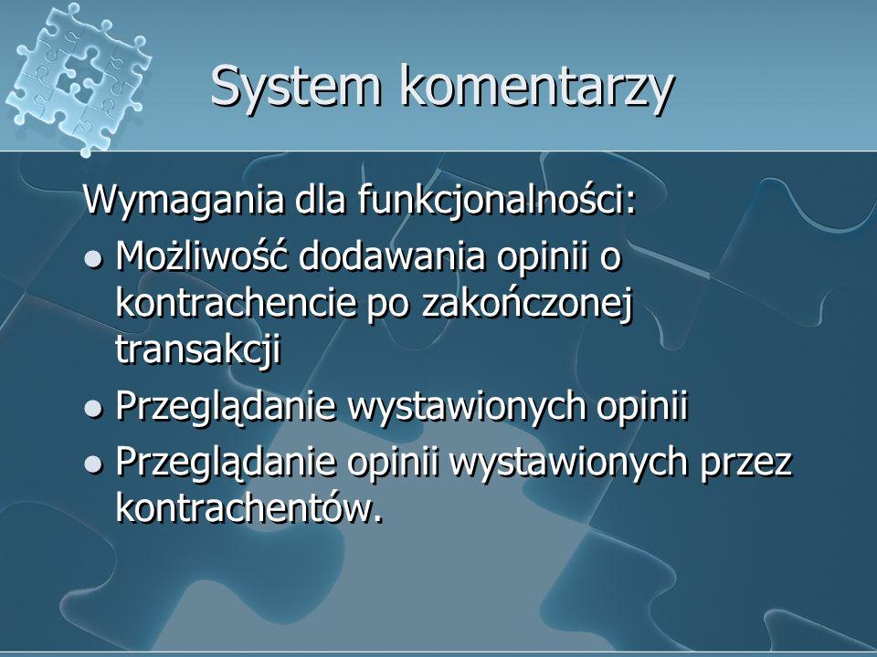 System komentarzy Wymagania dla funkcjonalności: