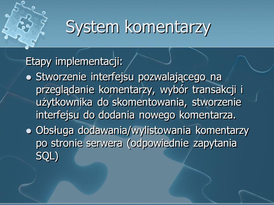 System komentarzy Etapy implementacji: